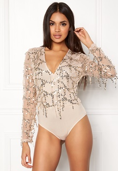 Girl In Mind Sequin Mesh Body Gold Bubbleroom.dk