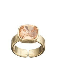 BY JOLIMA Glam Crystal Ring Champagne/Gold Bubbleroom.se