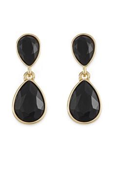 BY JOLIMA Glam Double Drop Earring Black/Gold Bubbleroom.se