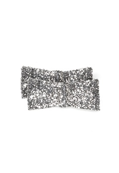Heelow Glitter Bow Clips Silver Bubbleroom.se