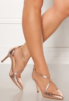 SARGOSSA Glitzy Leather Heels Rose Gold Bubbleroom.se