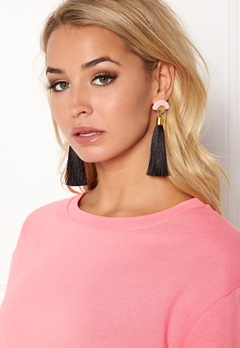 WOS Gloria Tassels Earrings Svart/Rosa Bubbleroom.se