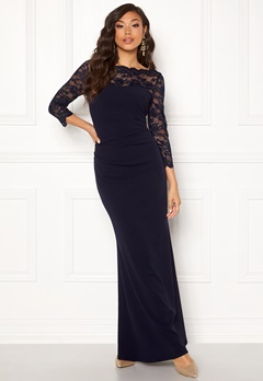 Goddiva 3/4 Lace Trim Maxi Dress Navy Bubbleroom.se