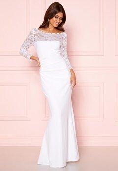 Goddiva 3/4 Lace Trim Maxi Dress White Bubbleroom.se
