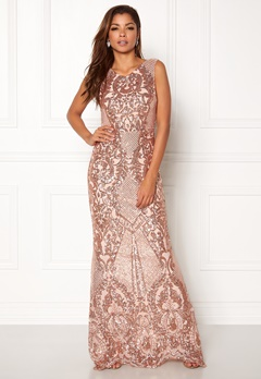 Goddiva Allover Sequin Maxi Dress Champgane Bubbleroom.dk