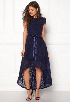 Goddiva Asymmetric Lace Dress Navy Bubbleroom.fi