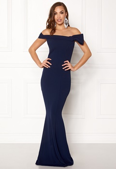 Goddiva Bardot Fishtail Maxi Dres Navy Bubbleroom.no