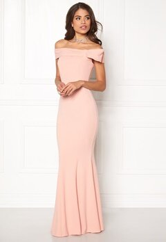 Goddiva Bardot Fishtail Maxi Dress Nude Bubbleroom.se