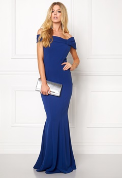Goddiva Bardot Fishtail Maxi Dres Royal Blue Bubbleroom.no