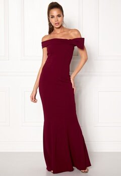 Goddiva Bardot Fishtail Maxi Dress Berry Bubbleroom.no