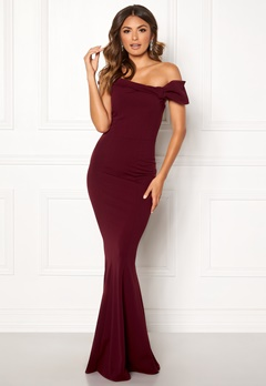 Goddiva Bardot Fishtail Maxi Dress Berry Bubbleroom.se