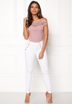 Goddiva Bardot Lace Bodysuit Mauve Bubbleroom.se