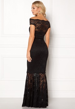 Goddiva Bardot Lace Maxi Dress Black Bubbleroom.fi