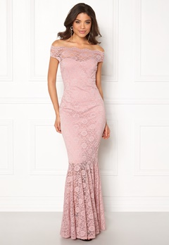 Goddiva Bardot Lace Maxi Dress Mauve Bubbleroom.fi
