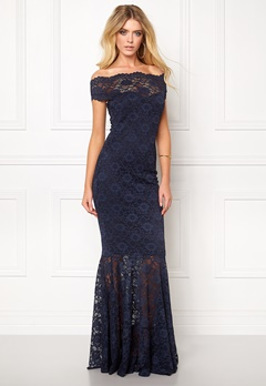 Goddiva Bardot Lace Maxi Dress Navy Bubbleroom.no