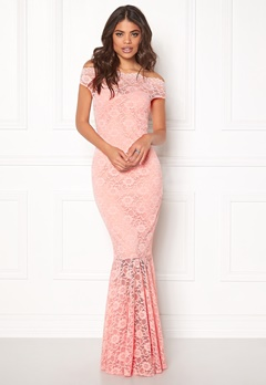 Goddiva Bardot Lace Maxi Dress Pink Bubbleroom.se