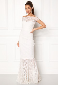 Goddiva Bardot Lace Maxi Dress White Bubbleroom.se
