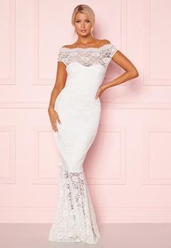 Goddiva Bardot Lace Maxi Dress White Bubbleroom.se