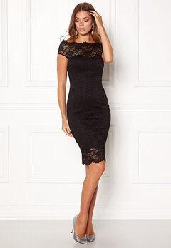 Goddiva Bardot Lace Midi Dress Black Bubbleroom.fi