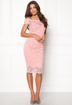 Goddiva Bardot Lace Midi Dress Pink Bubbleroom.se