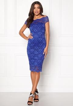Goddiva Bardot Lace Midi Dress Royal Blue Bubbleroom.dk