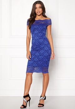 Goddiva Bardot Lace Midi Dress Royal Blue Bubbleroom.se