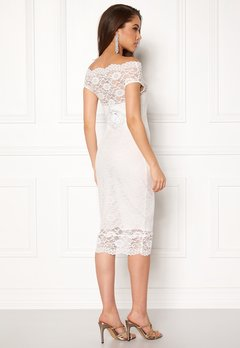 Goddiva Bardot Lace Midi Dress White Bubbleroom.se