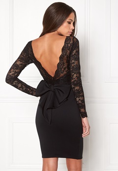 Goddiva Bardot Midi Dress Bow Black Bubbleroom.fi