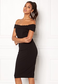 Goddiva Bardot Midi Dress Bow Black Bubbleroom.se
