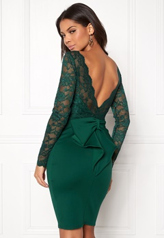 Goddiva Bardot Midi Dress Bow Emerald Bubbleroom.dk