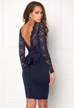 Goddiva Bardot Midi Dress Bow Navy Bubbleroom.se