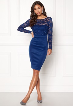 Goddiva Bardot Midi Dress Bow Navy Bubbleroom.fi