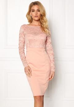Goddiva Bardot Midi Dress Bow Nude Bubbleroom.se