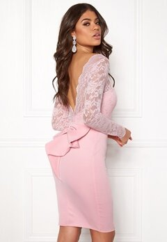 Goddiva Bardot Midi Dress Bow Pink Bubbleroom.se