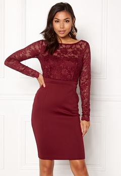 Goddiva Bardot Midi Dress Bow Wine Bubbleroom.se
