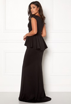 Goddiva Bardot Peplum Maxi Dress Black Bubbleroom.se