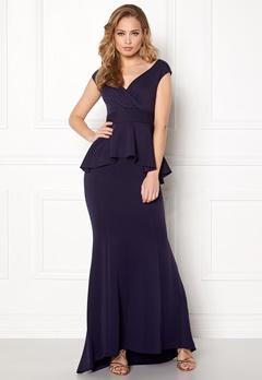 Goddiva Bardot Peplum Maxi Dress Navy Bubbleroom.eu