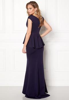 Goddiva Bardot Peplum Maxi Dress Navy Bubbleroom.se