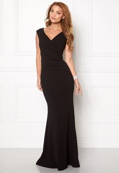 Goddiva Bardot Pleat Maxi Dress Black Bubbleroom.se