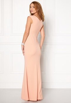 Goddiva Bardot Pleat Maxi Dress Nude Bubbleroom.se
