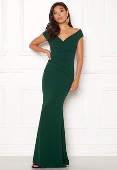 Goddiva Bardot Pleat Maxi Dress Emerald Bubbleroom.se