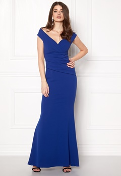 Goddiva Bardot Pleat Maxi Dres Royal Blue Bubbleroom.no