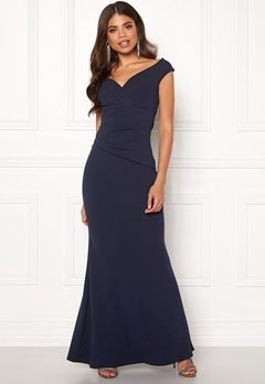 Goddiva Bardot Pleat Maxi Dress Navy Bubbleroom.se