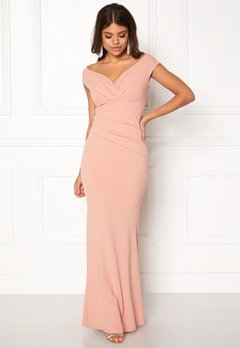 Goddiva Bardot Pleat Maxi Dres Nude Bubbleroom.no