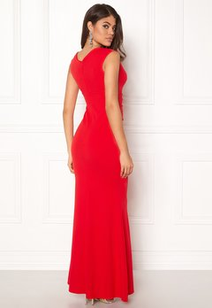 Goddiva Bardot Pleat Maxi Dress Red Bubbleroom.se