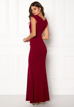 Goddiva Bardot Pleat Maxi Dress Wine Bubbleroom.se