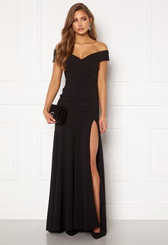 Goddiva Bardot Pleat Maxi Split Dress Black Bubbleroom.se