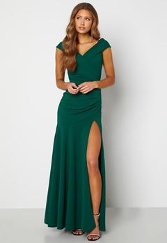 Goddiva Bardot Pleat Maxi Split Dress Emerald Bubbleroom.se