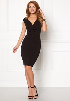 Goddiva Bardot Pleat Midi Dress Black Bubbleroom.se