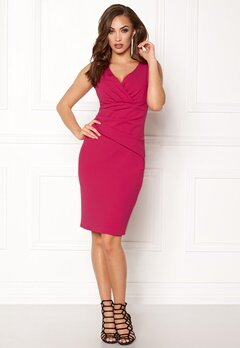 Goddiva Bardot Pleat Midi Dress Cerise Bubbleroom.no